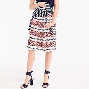 J. Crew Petite Pleated Skirt Berry Print!